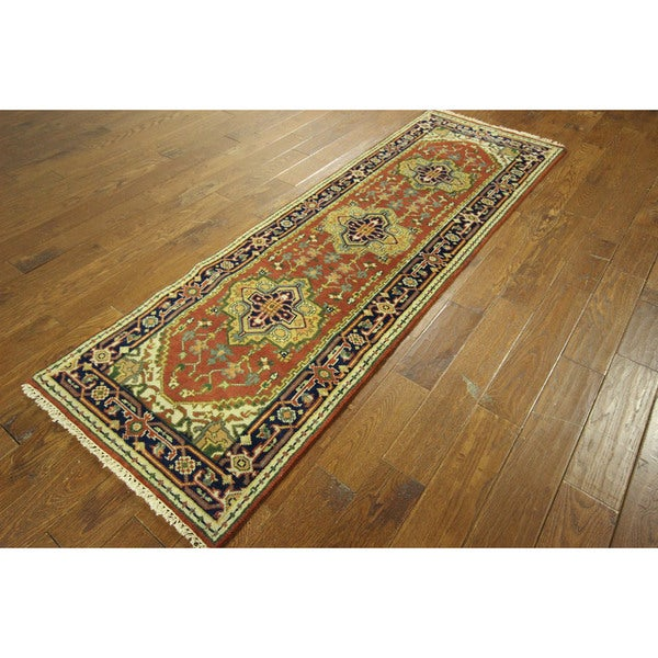 Hand-knotted Runner Red/ Navy Blue Heriz Serapi Floral