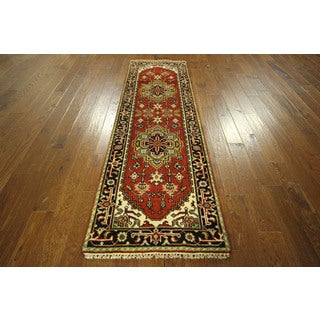 Floral Serapi Collection Heriz Runner Hand-knotted Wool Area Rug (3' x 8')