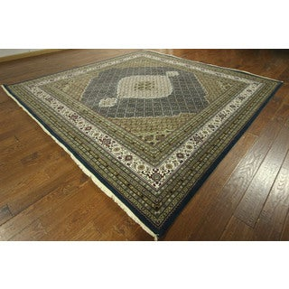 Mahi Design Navy Blue Square Tabriz Hand-knotted Wool/ Silk Area Rug (10'), 10' x 10')