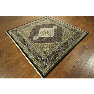 One of a Kind Hand-knotted Square Floral Tabriz Wool/ Silk Area Rug (6'), 6' x 6')