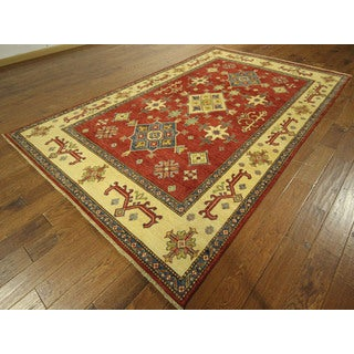 Oriental Geo-Floral Red Hand-knotted 100-percent Wool Super Kazak Area Rug (9' x 12'), 9' x 10')