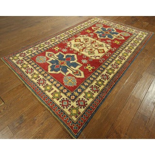 Cross Motif Red Super Kazak Hand-knotted Wool Oriental Area Rug (6' x 9')