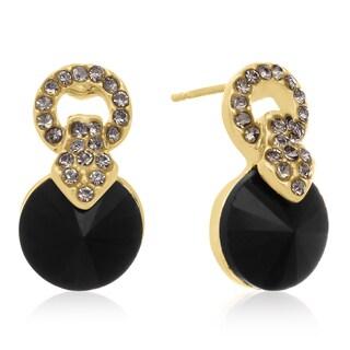 Black Onyx Stud Earrings, Gold Overlay, Pushbacks