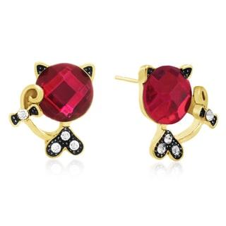 Pink Sapphire Sassy Cat Stud Earrings, Gold Overlay, Pushbacks