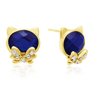 Blue Sapphire Cat Stud Earrings, Gold Overlay, Pushbacks