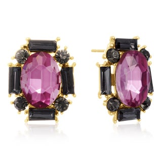 Pink Topaz and Black Onyx Stud Earrings, Gold Overlay, Pushbacks