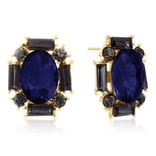Blue Sapphire and Black Onyx Stud Earrings, Gold Overlay, Pushbacks