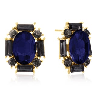 Blue Crystal and Black Crystal Stud Earrings, Gold Over Brass, Pushbacks