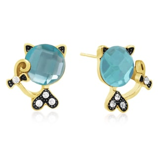 Blue Crystal Sassy Cat Stud Earrings, Gold Over Brass, Pushbacks