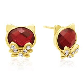 Ruby Cat Stud Earrings, Gold Overlay, Pushbacks