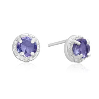 1 Carat Tanzanite and Halo Diamond Stud Earrings In Sterling Silver