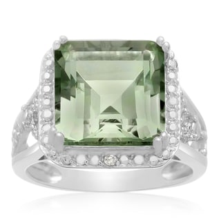 5 Carat Princess Shape Green Amethyst and Halo Diamond Ring In Sterling Silver