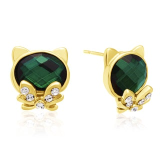 Green Cat Stud Earrings, Gold Over Brass, Pushbacks