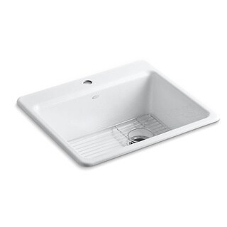 Kohler Riverby Top-mount Cast Iron 25 inch 1-hole Single Bowl Kitchen Sink in White