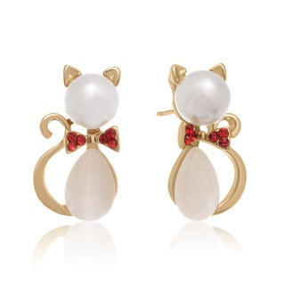 Preppy Pearl Cat Stud Earrings, Gold Overlay, Pushbacks
