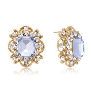 Blooming Aquamarine Stud Earrings, Gold Overlay, Pushbacks