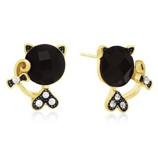 Black Onyx Sassy Cat Stud Earrings, Gold Overlay, Pushbacks