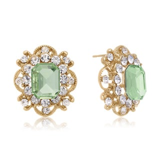 Blooming Peridot Stud Earrings, Gold Overlay, Pushbacks