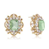 Blooming Green Crystal Stud Earrings, Gold Over Brass, Pushbacks