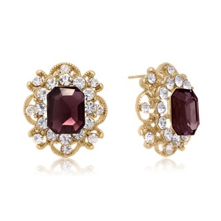 Blooming Purple Crystal Stud Earrings, Gold Over Brass, Pushbacks
