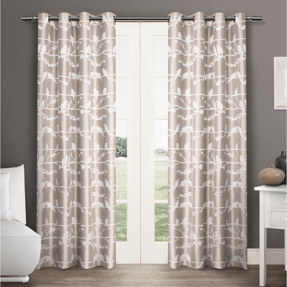 ATI Home Lovebirds Grommet Top 84-inch Curtain Panel Pair...