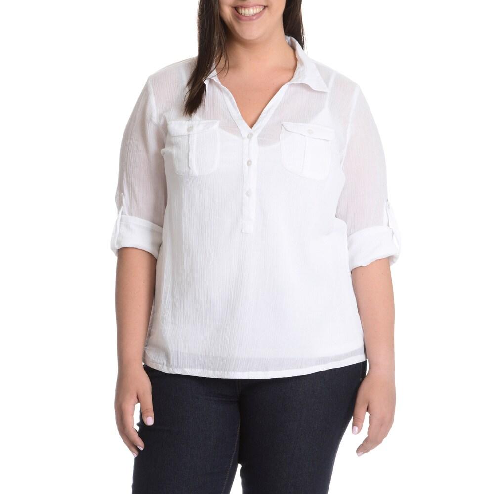 La Cera Womens Plus Size Crinkle 3-Button Collared Shirt