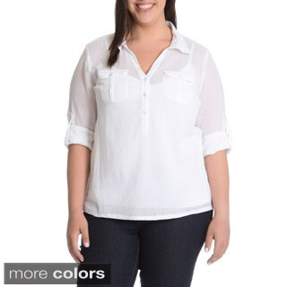 La Cera Women's Plus Size Crinkle 3-Button Collared Shirt