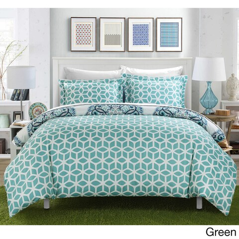 Porch & Den Prowers Printed Medallion with Geometric Reverse 7-piece Bed in a Bag with White Sheet Set