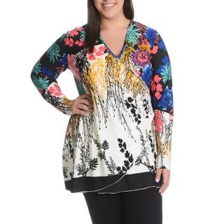 La Cera Women's Plus Size Multi Floral Print Surplice Wrap Top