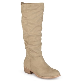 Journee Collection Women's 'Moon' Regular and Wide-calf Faux Suede Secret Pocket Heeled Boots