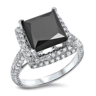 Noori 18k White Gold 4ct TDW Princess Cut Black Diamond Ring