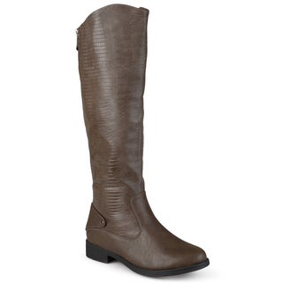 Journee Collection Women's 'Sleek' Regular and Wide-calf Round Toe Faux Leather Boots