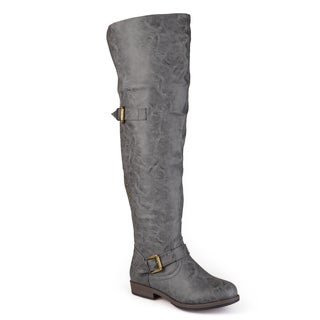 Journee Collection Women's Kane Regular and Wide-calf Studded Over-the-knee Inside Pocket Buckle Boots