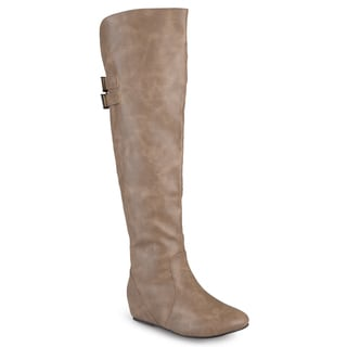 Link to Journee Collection Women's 'Angel' Regular and Wide-calf Faux Leather Inside Pocket Buckle Detail Boots Similar Items in Women's Shoes