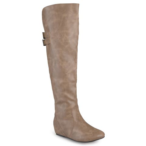 Journee Collection Womens Angel Regular And Wide-calf Faux Leather Inside Pocket Buckle Detail Boots by  Savings
