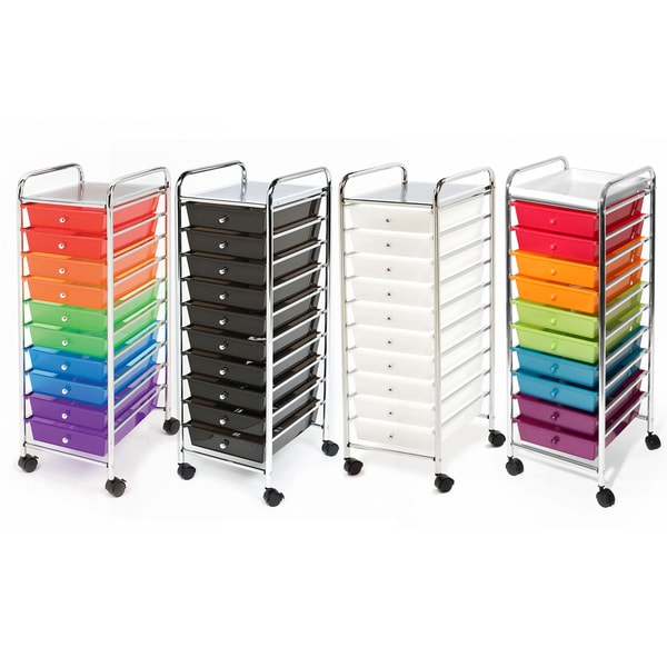 seville classics 10 drawer organizer rolling cart free shipping on orders over 45 overstock. Black Bedroom Furniture Sets. Home Design Ideas