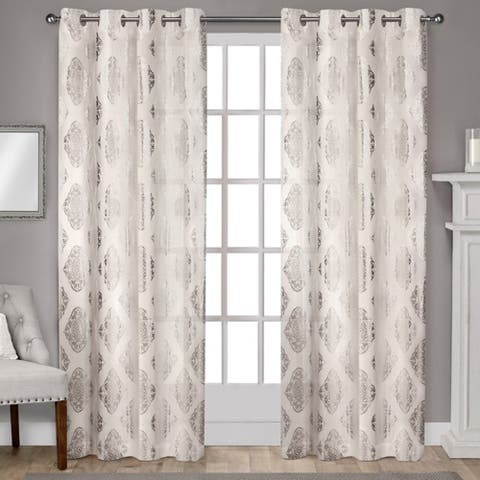 ATI Home Augustus Cotton Grommet Top Curtain Panel Pair