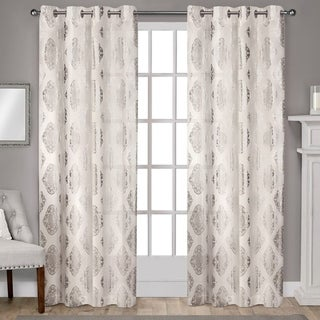 ATI Home Augustus Off-white Grommet Top 84-inch Curtain Panel Pair