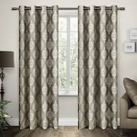ATI Home Damask Cotton Jacquard Grommet Top Curtain Panel Pair