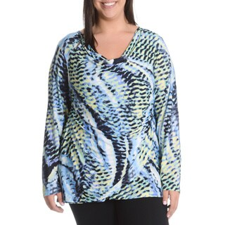 La Cera Women's Plus Size Abstract Animal Print Faux Wrap Shirt