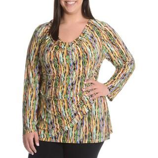 La Cera Women's Plus Size Abstract Wavy Print Faux Wrap Shirt