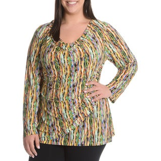 La Cera Women's Plus Size Abstract Wavy Print Faux Wrap Shirt
