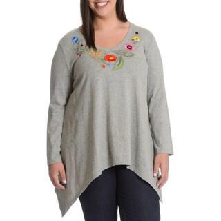 La Cera Women's Plus Size Floral Embroidery Neckline Detail Top