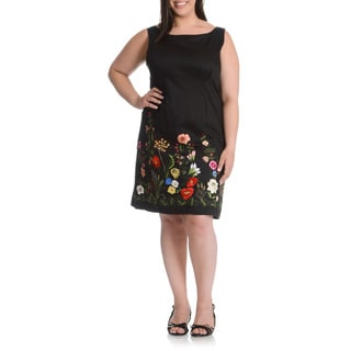 La Cera Women's Plus Size Floral Embroidered Sheath Dress