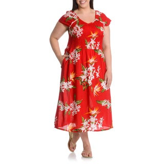 La Cera Women's Plus Size Tropical Floral Print Dress with Pockets