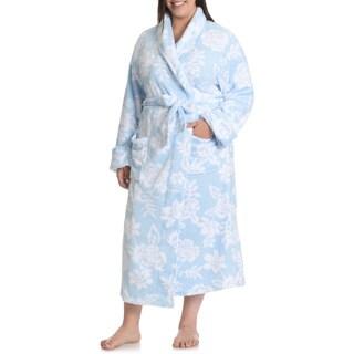 La Cera Women's Plus Size Full Length Floral Print Plush Bath Robe