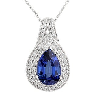 "14kt white gold created blue and white sapphire pendant with 18""chain"
