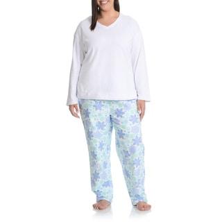 La Cera Women's Plus Size Snowflake Pant Pajama Set