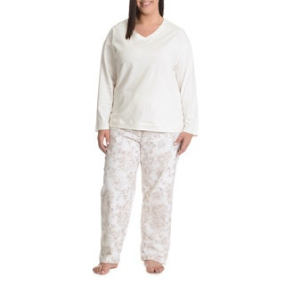 La Cera Women's Plus Size Antique Floral Print Pant Pajama Set (3 options available)