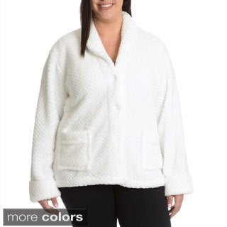 La Cera Women's Plus Size Textured Plush Button Front Sleep Shirt